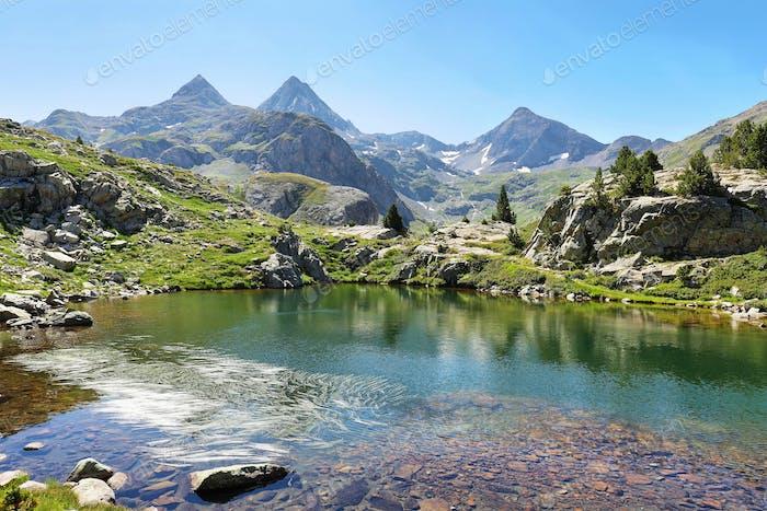Ranas Lake in Tena Valley in The Pyrenees, Huesca, Spain.