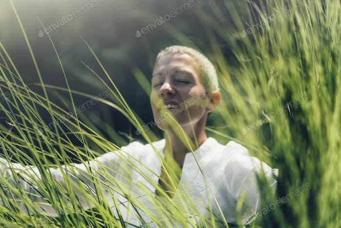 Abundance in Nature. Woman Feeling Accomplished, Enjoying the Nature