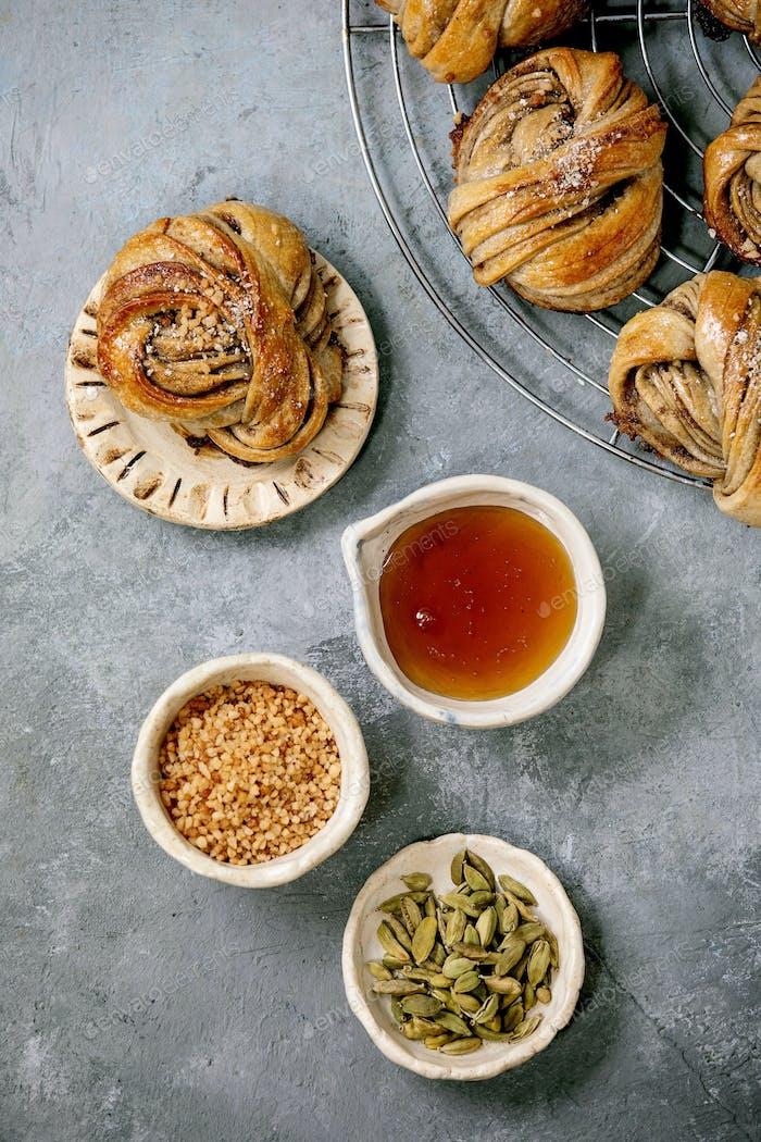 Swedish cardamom buns Kanelbulle