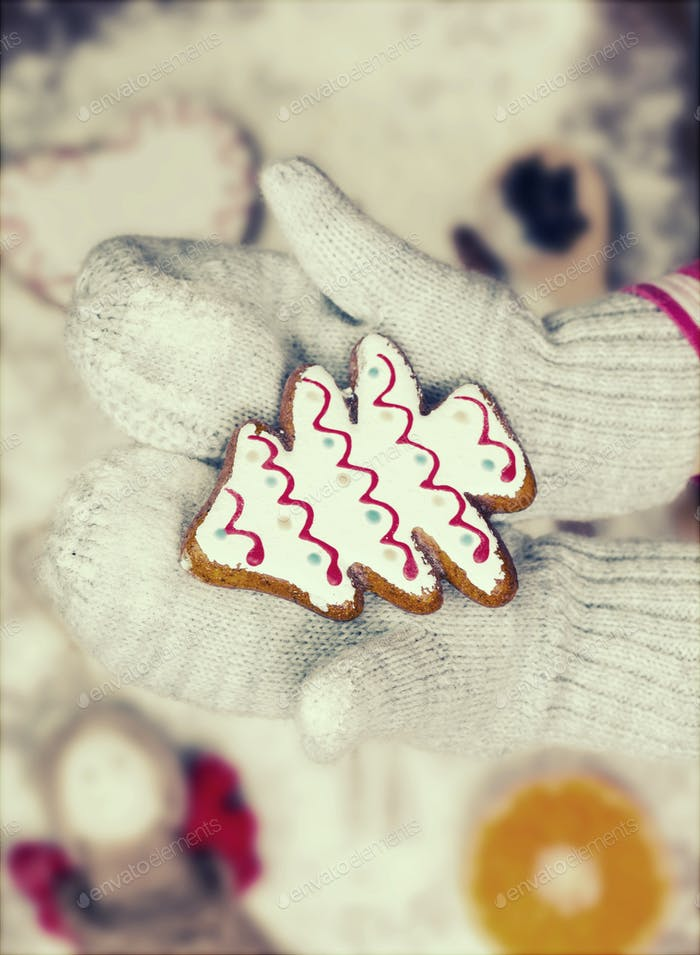 Child hands in gloves holding gingerbread cookie