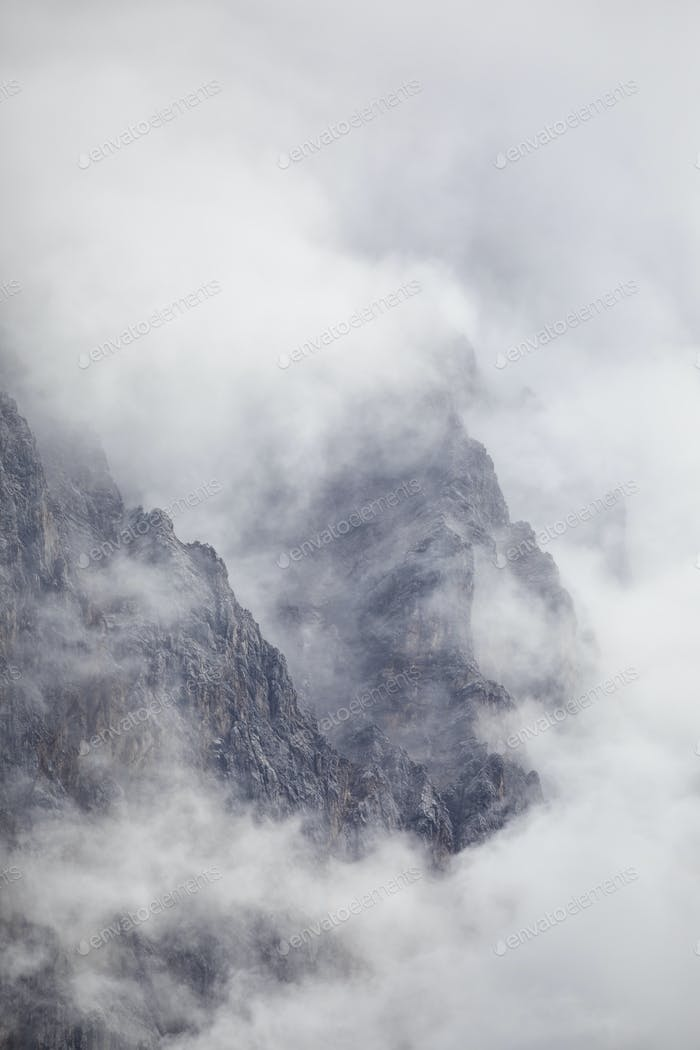 mountains in dramatic clouds