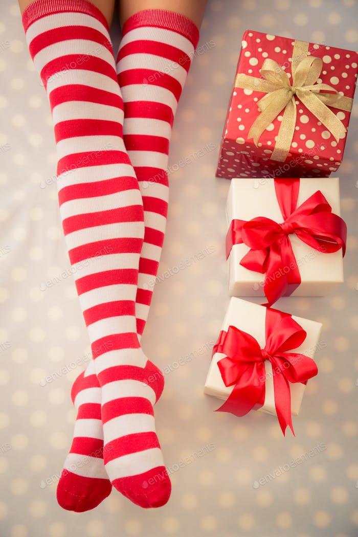 Sexy Santa woman legs