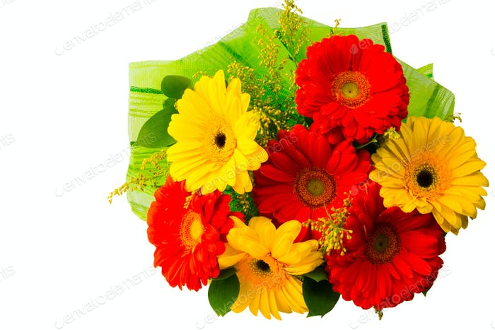 Red and yellow daisy bouquet