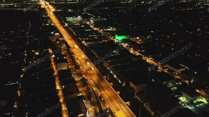 Closeup of bridge traffic highway at Manila metropolis city, Philippines town. Night downtown street