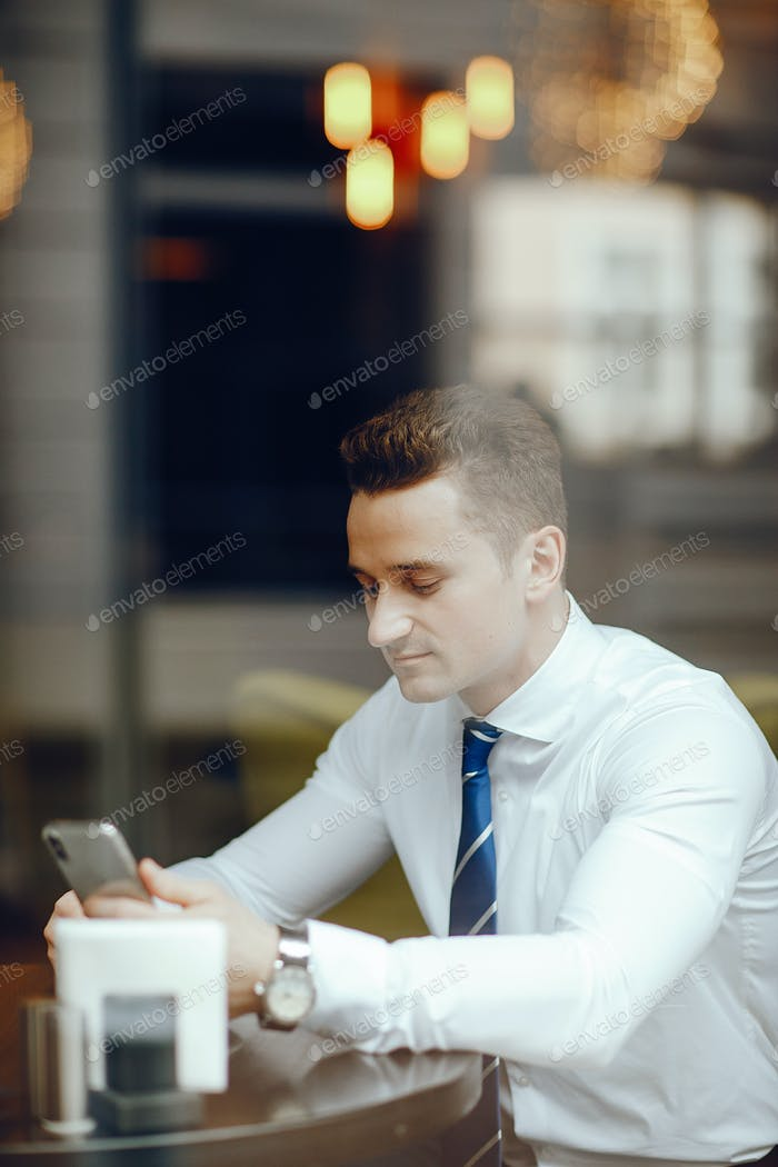 a businessman in a cafe
