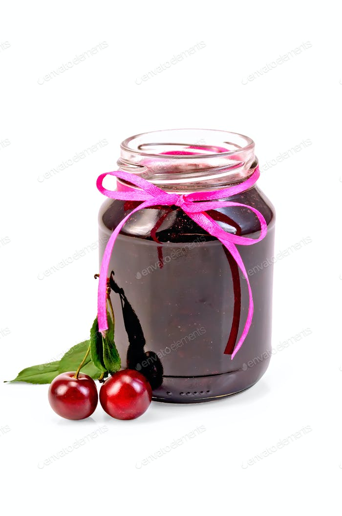 Jam cherry in a glass jar