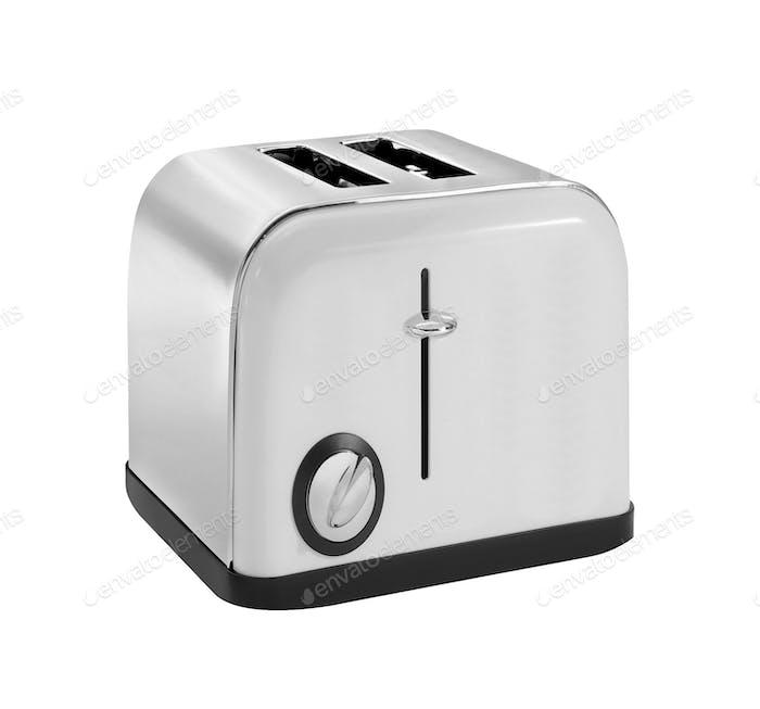 Common chrome toaster isolated on white background