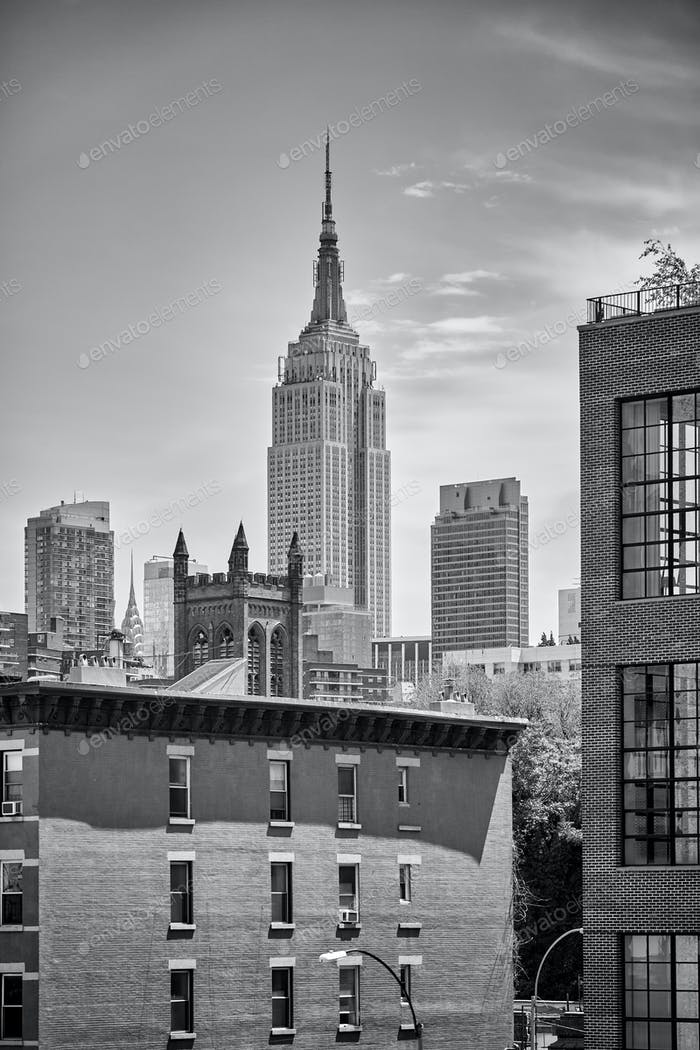 New York City skyline with Empire State Building.