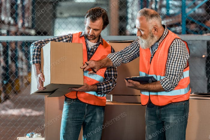 workers in vests holding clipboard and box while working in storehouse