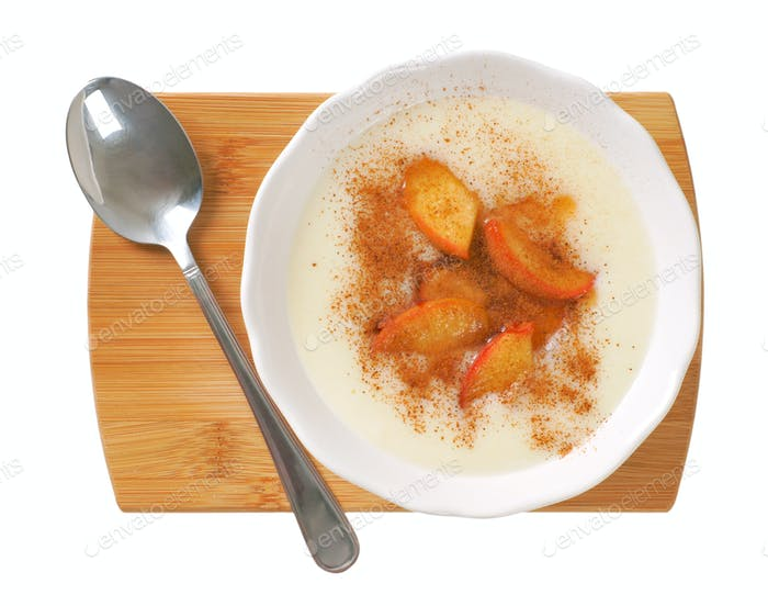 bowl of semolina pudding