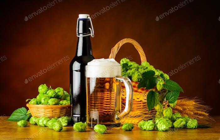 Beer Mug and Bottle with Hop Flower