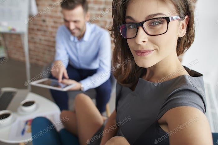 Business meeting of two young business people