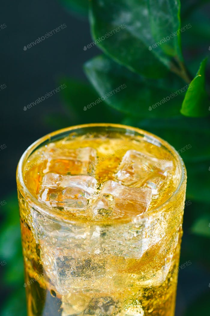 Close-up of a fresh yellow sparkling drink with ice against green nature backgrounds.