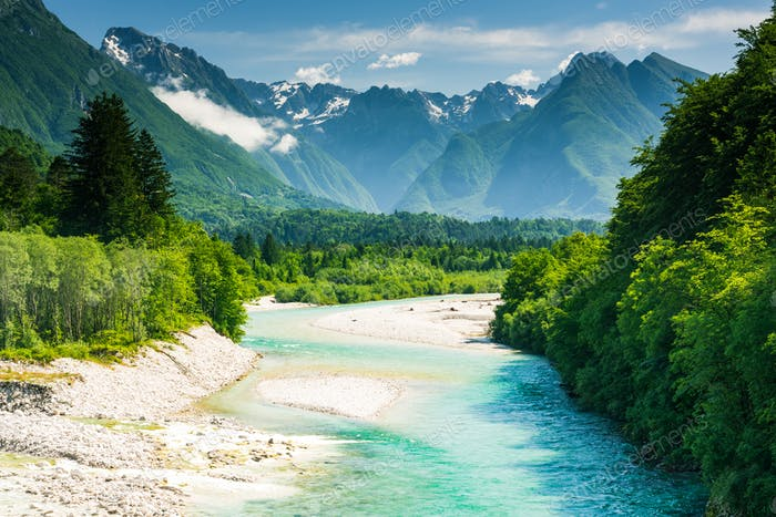 Beautiful canyon in forest with Soca river,Slovenia