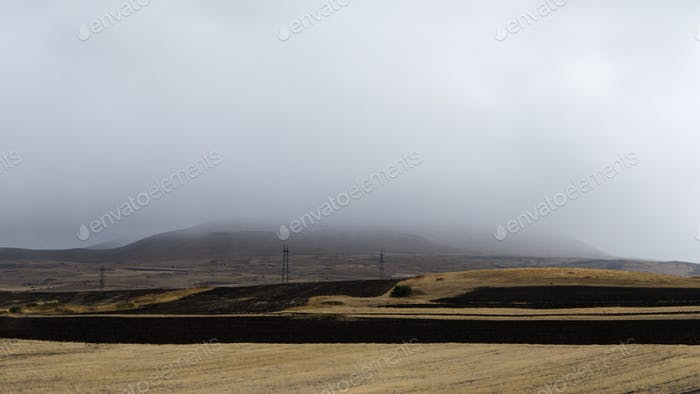Valley, fog over mountains and hills in Armenia