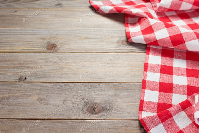 cloth napkin at rustic table in front