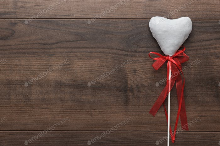 White Plush Heart Shape On Sticks
