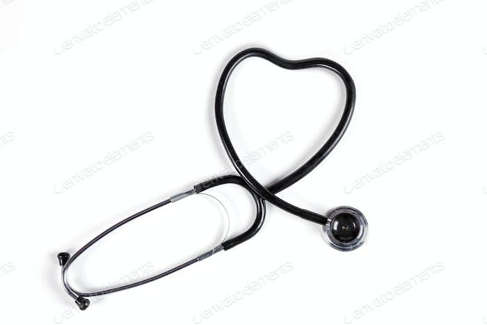 Black Stethoscope Heart