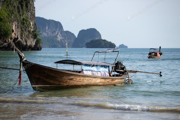 Traditional longtail boat on Tonsai beach, Thailand.