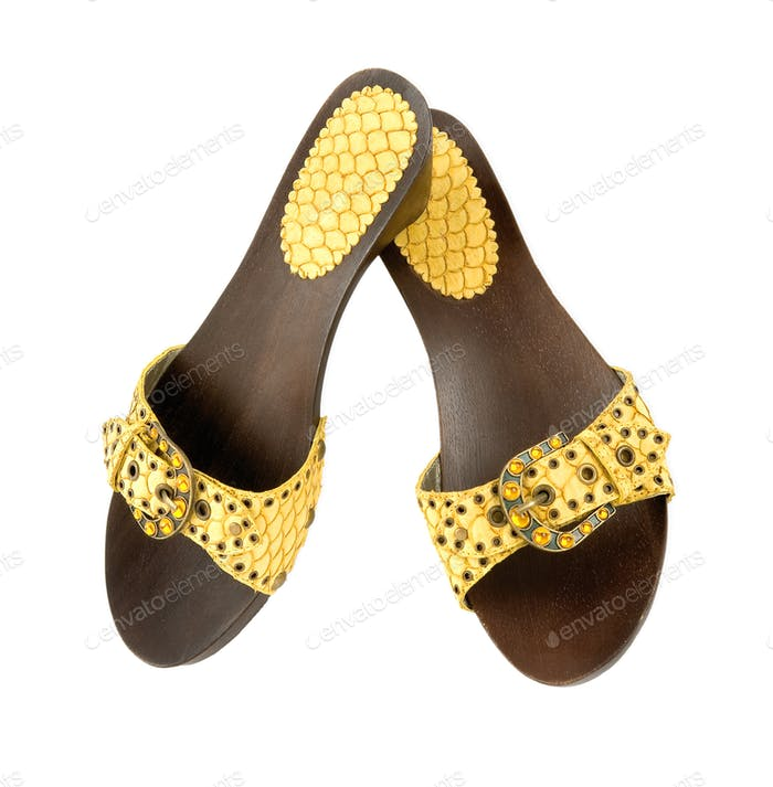Snake leather wooden wedge yellow sandals