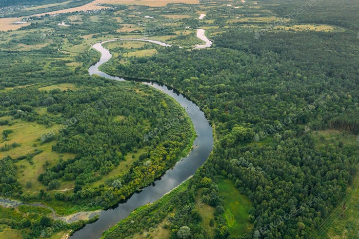 Aerial View Green Meadow, Forest And River Landscape In Spring E