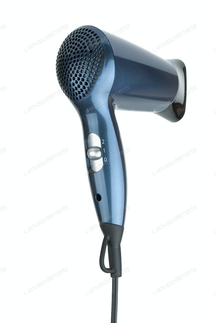 Blue compact hairdryer from back side