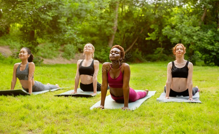 Sporty diverse girls on morning yoga practice, doing cobra pose at park