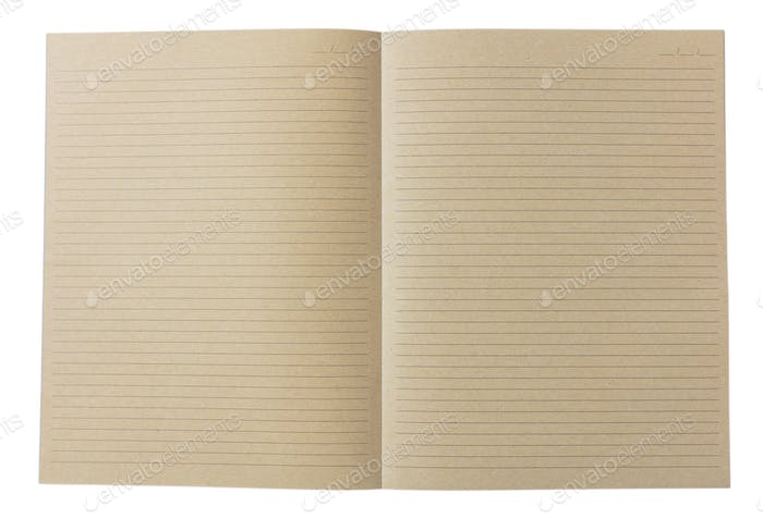 Open school notebook, old fashioned, isolated on white background, copy space, top view