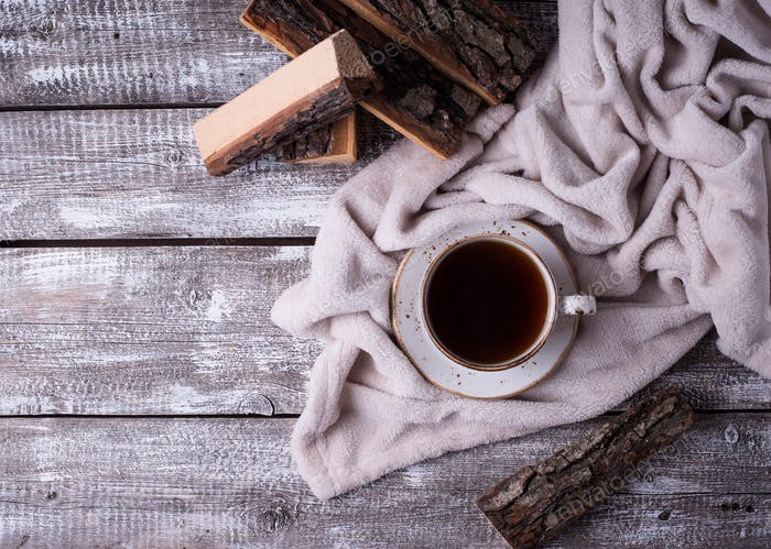 Coffee and wrap, cozy Scandinavian home interior