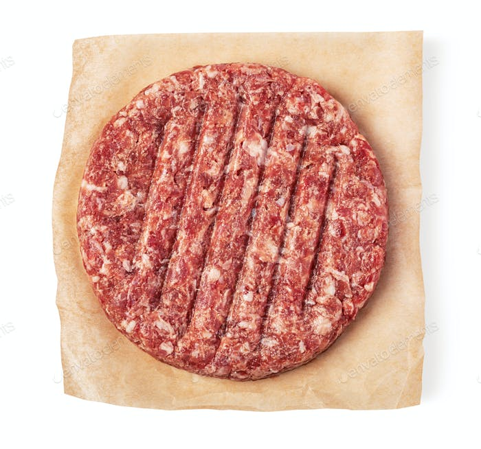 fresh raw burger meat on white background