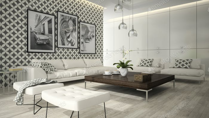 Interior of living room with stylish wallpaper 3D rendering 5