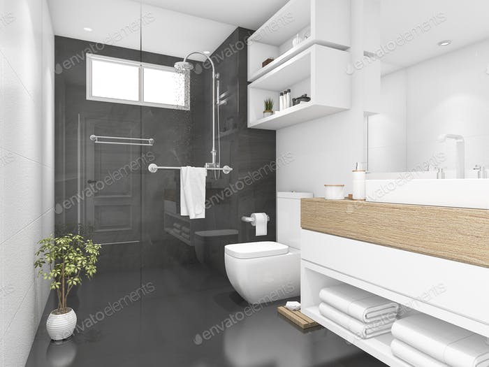 3d rendering black bathroom with shower and toilet