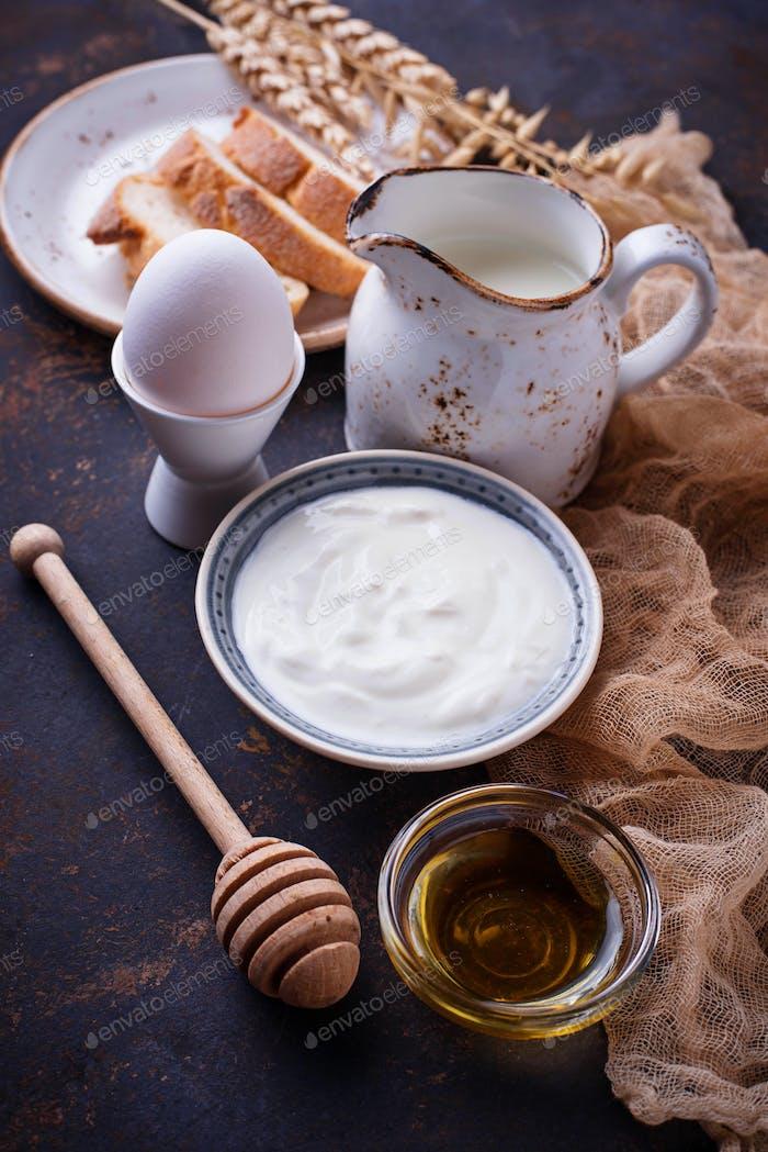 Yogurt, boiled egg, milk and honey.