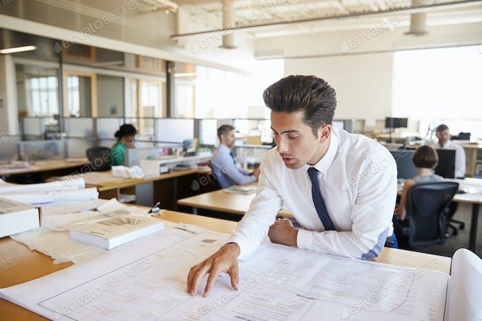 Junge männliche Architekt studiert Pläne im offenen Büro