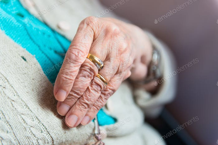 Hand of elderly woman