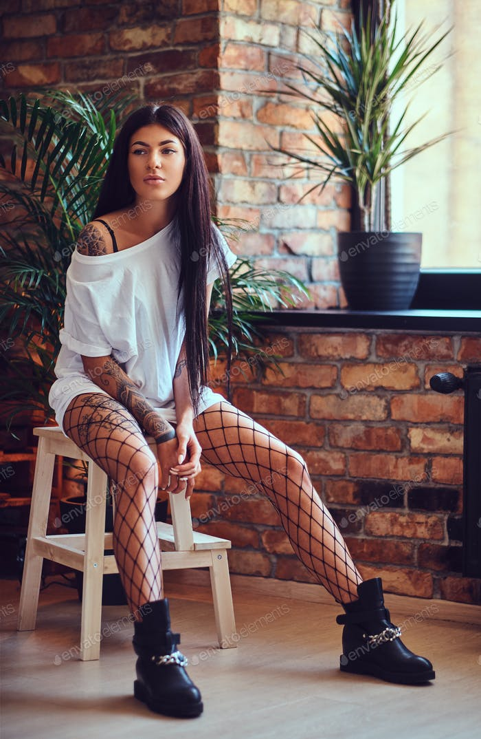 Sexy female in a mesh stockings.
