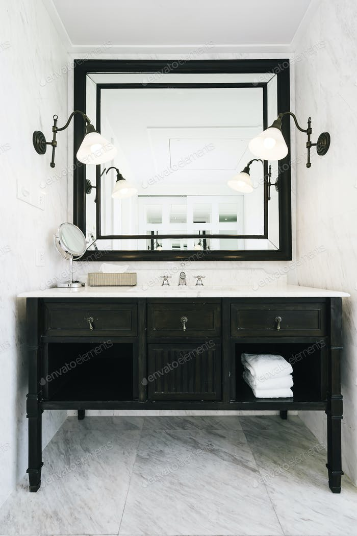 Beautiful luxury white sink and facuet water interior of bathroo