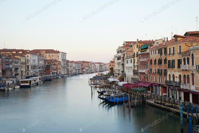 Grand Canal in Venice, nobody in the early morning in summer