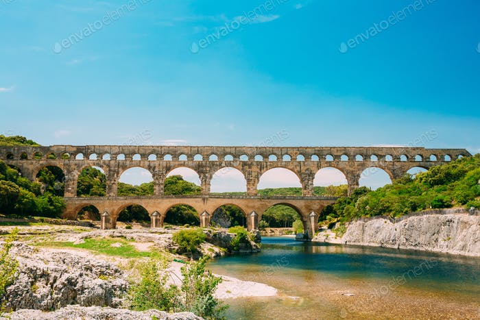 Landmark Ancient Old Double Arches Of The Roman Aqueduct Of Pont