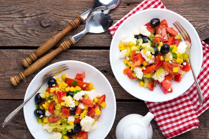 Fresh vegetable salad with feta cheese