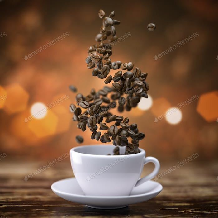 Coffee cup with coffee beans on wooden table.