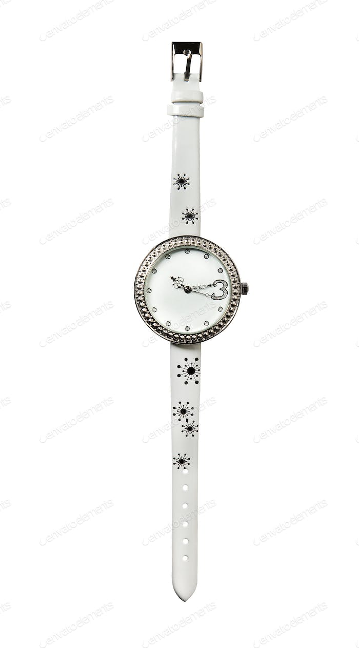 White leather strass watch