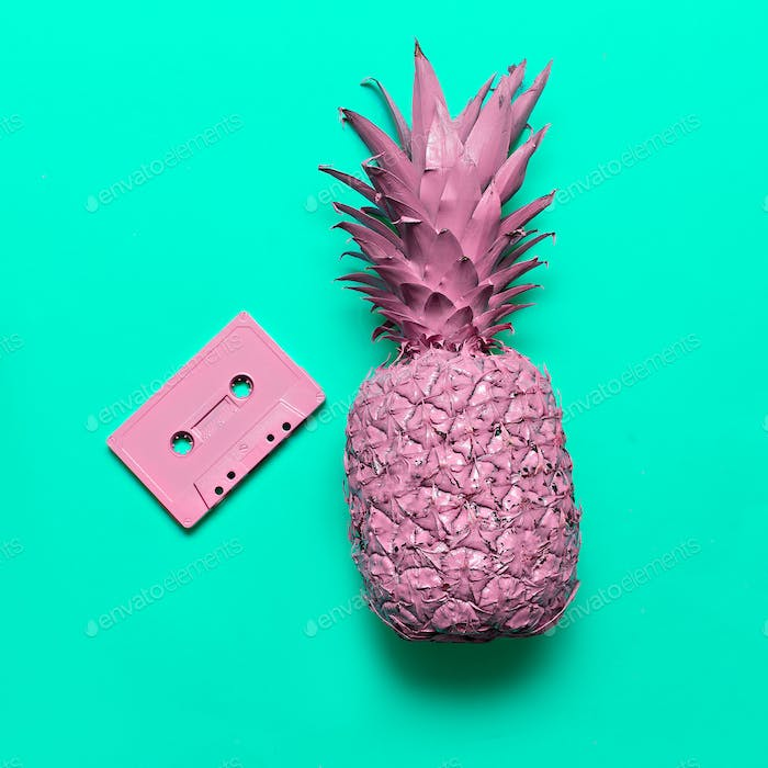 Pineapple and Audio cassette. Beach party Retro vibes Minimal ar