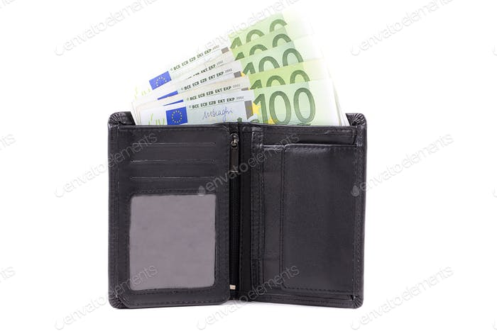 European currency in the black wallet