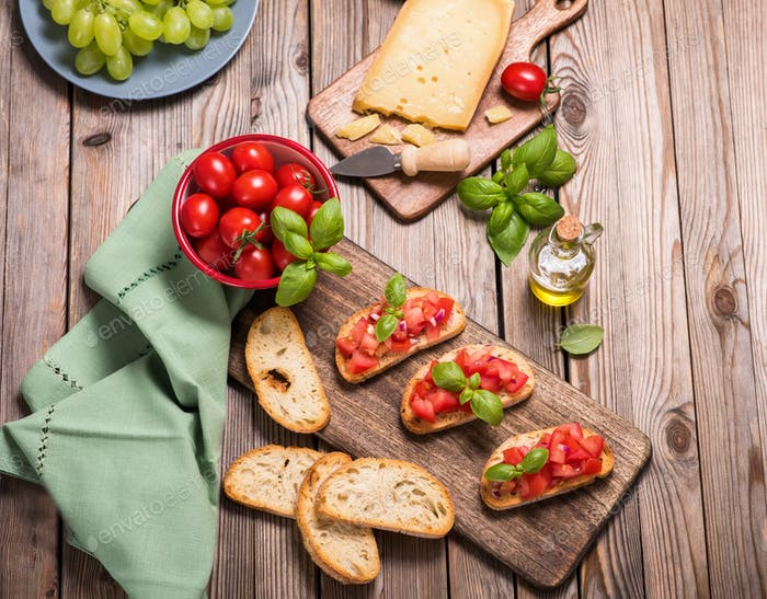 Fresh Bruschetta Snack, Party Food, Italian Cuisine, Finger Food