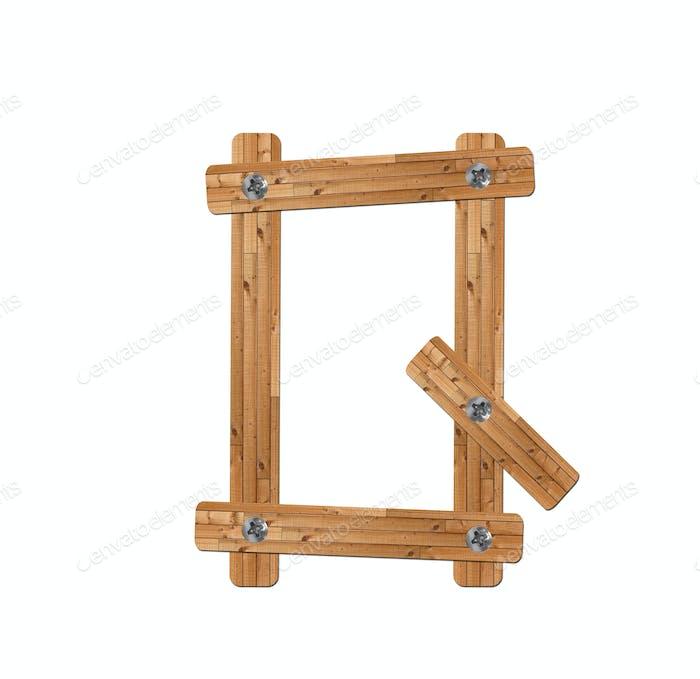wooden alphabet - letter Q on white background