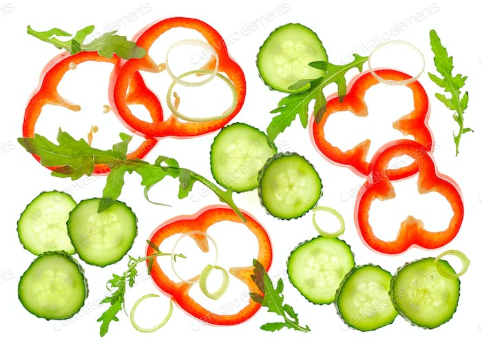 Composition of various sliced vegetables