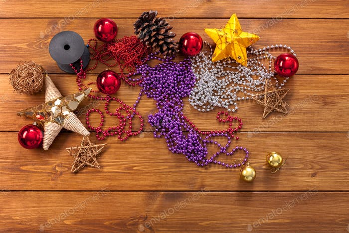 Christmas ornaments and decorations, prepare for winter holidays background