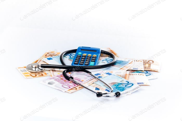 health care concept with calculator, money and stethoscope on white background