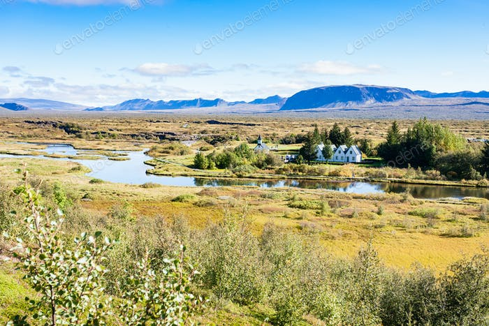 view of rift valley in Thingvellir national park